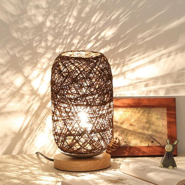 Twine Rattan Table Home Art Desk Light