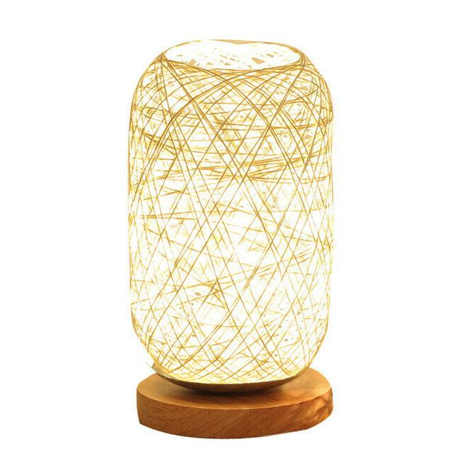 twine ball lights wood rattan table lamp