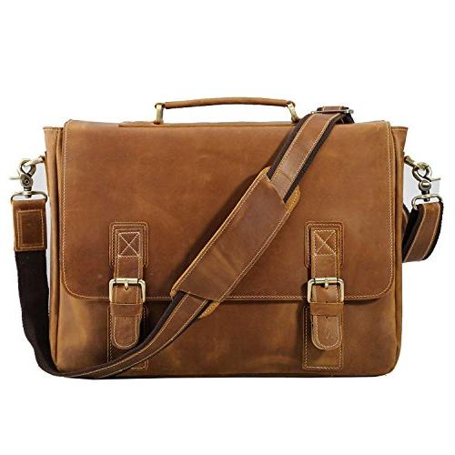 vintage genuine leather tote briefcase