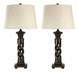Ashley L235334 Fallon Poly Table Lamp - Black, Pack Of 2