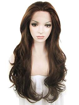Imstyle Women 26 Inches Lace Front Wig Natural Brown Long Wa