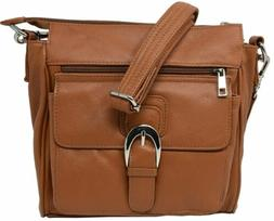 Light Brown CCW Locking Cowhide Purse For Small Frame Semi-A