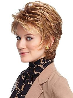 YX Women's Light brown Short Curly Wigs With Inclined Bangs