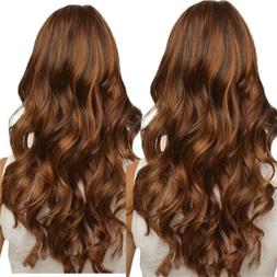 Light Brown Women Long Full Wavy Front Lace Wig Curly Natura