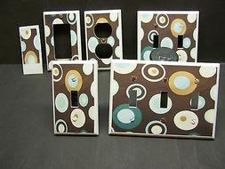 DOTS BROWN BLUE TEAL  LIGHT SWITCH COVER PLATE OR OUTLET