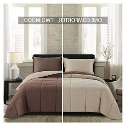 Homelike Moment Lightweight Comforter Set King Brown Beige S