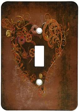 3dRose lsp_172232_1 Decorated Brown Steam Punk Heart Light S