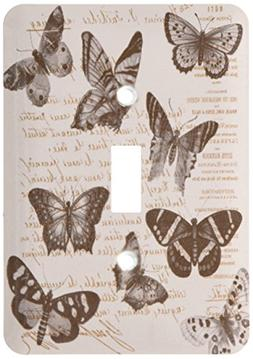 3dRose lsp_178893_1 Vintage Butterflies Brown French Typogra