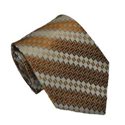 Men's light brown and gray  geometric designed woven tie