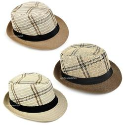Men Women Timelessly Classic Structured Fedora Hat Plaid Des