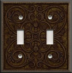 Metal Light Switch Plate Cover - French Pattern Design Bronz