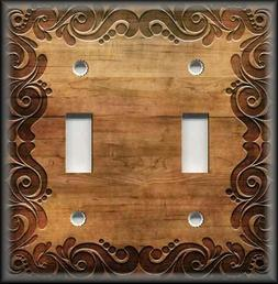 Metal Light Switch Plate Cover - Swirl Frame Wood Image - Li