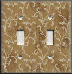 Metal Light Switch Plate Cover - Tuscan Decor Vines Light Br