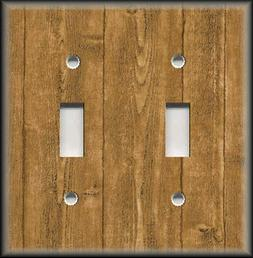 Metal Light Switch Plate Cover - Wood Pattern Light Brown Fa