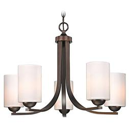 Modern 5-Light Chandelier with Opal White Cylinder Glass in