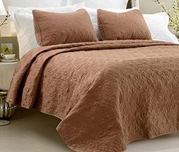 Oversized - 3 Piece 100% Cotton Quilted Coverlet Set - Brown