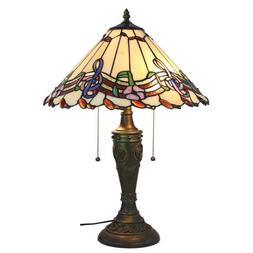 Amora Lighting Musical Notes Tiffany Style Table Lamp, 24 In