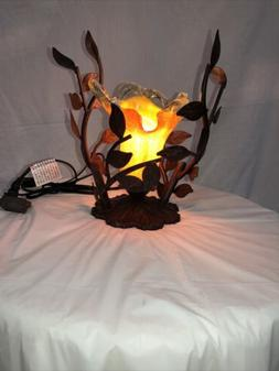 ONE LIGHT IRON TABLE LAMP WITH HAND  BLOW GLASS SHADE / LIGH