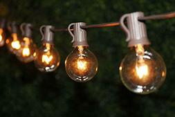 Outdoor Patio String Lights with 102 Clear Globe -Brown Wire