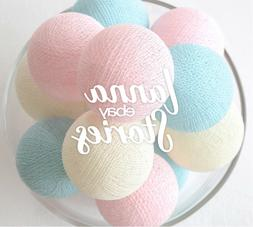 Pastel Sweet Cotton Ball String Light Dorm Bedroom Nursery F
