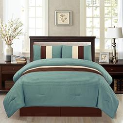 4 Piece QUEEN Size LIGHT SILVER BLUE / BROWN / BEIGE Pin Tuc