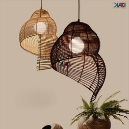 Rattan Lantern Handmade Pendant Lights Restaurant Bar Tea Ro