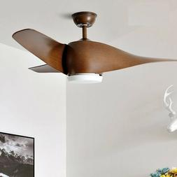 Remote Control Ceiling Fan With Lights Brown Vintage Bedroom