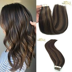 Googoo Remy Hair Extensions Tape in Human Hair Ombre Dark Br