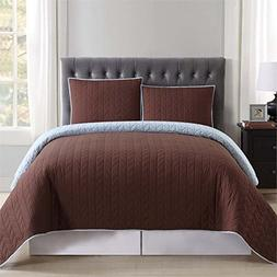 Truly Soft Everyday Reversible Quilt and Sham Mini Set Brown