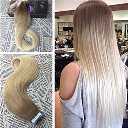 Moresoo 18 Inch Tape in Hair Extensions Human Hair Ombre Col