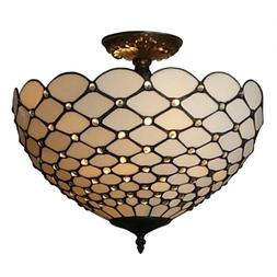 Semi Flush Mount Ceiling Light Tiffany Style Lamp White Stai