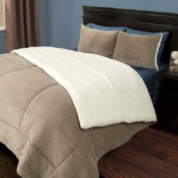 Somerset Home Sherpa/Fleece Bedding Comforter Set  Light Bro