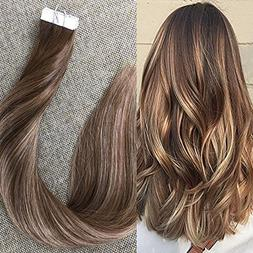Full Shine 16 inch Tape in Remy Human Hair Extensions Balaya