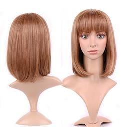 Short Bob Synthetic Wig with Bangs 15 Styles Heat Resistant