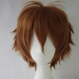Unisex Women Short Curly Straight Cosplay Wig Anime Hair Tai