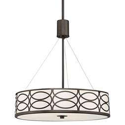 "Kira Home Sienna 18"" 3-Light Metal Drum Chandelier + Glass D"