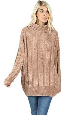 Sweaters for Women Turtle Cowl Neck Vertical Stripe Velvet Y