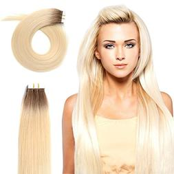 "20"" Tape in Human Hair Extensions 50g Rooted Real Remy Seaml"