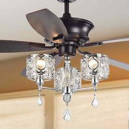 Tibedo 5-Blade 52-Inch Dark Brown Ceiling Fan with 3-Light C
