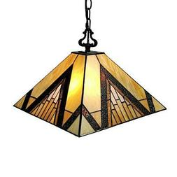 Amora Lighting Tiffany 2-Light Brown Tan Hanging Pendant