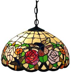 Amora Lighting Tiffany Style AM019HL16 Hummingbirds Floral H