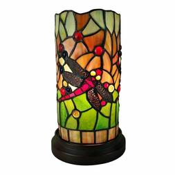 Amora Lighting Tiffany Style Dragonfly Handcrafted Stained G