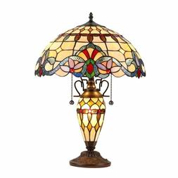 Tiffany Style Victorian Brown Blue Red Stained Glass Shade 3