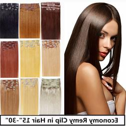 "USA STOCK !24""remy human hair clip In Extensions 8pcs &&120g"