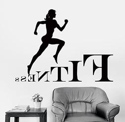 Wall Stickers Fitness Jogging Running Cross Fit Girl Woman F