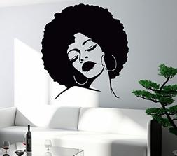 Wall Stickers Vinyl Decal Black Lady Face Hot Sexy Hair Salo