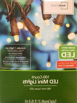 Warm White 100 Count LED Mini Brown String Lights Indoor/Out