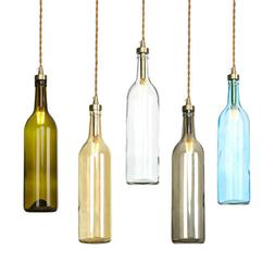 Wine Bottle Glass Shade Pendant Lights Cord LED Lamp Ceiling