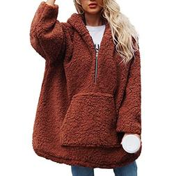 Perman Womens Winter Warm Fashion Long Sleeve Hooded Faux Fu