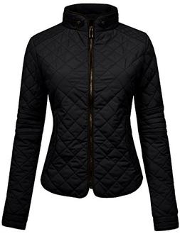 YOKO SHOP Womens Lightweight Quilted Zip Jacket-Black-S